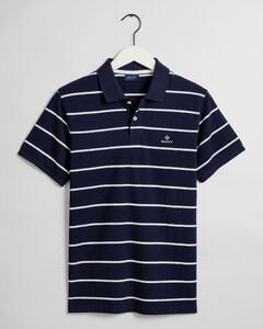 Gant Breton Stripe Piqué Rugger Polo Avond Blauw