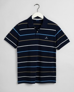 Gant Breton Stripe Piqué Rugger Polo Navy-Wit