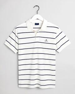 Gant Breton Stripe Piqué Rugger Poloshirt Eggshell