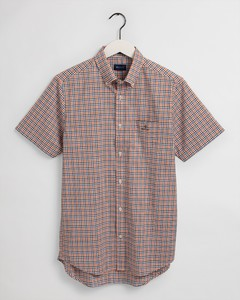 Gant Broadcloth Gingham Check Short Sleeve Overhemd Dark Leaf