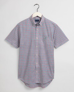 Gant Broadcloth Gingham Check Short Sleeve Overhemd Green Lagoon