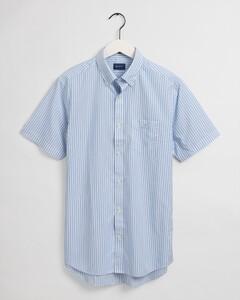 Gant Broadcloth Stripe Short Sleeve Overhemd Capri Blue