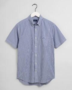 Gant Broadcloth Stripe Short Sleeve Overhemd College Blue