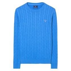 Gant Cable Round Neck Pullover Ocean Blue Melange