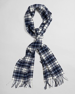 Gant Checked Twill Wool Scarf Sjaal Persian Blue