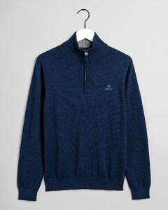 Gant Classic Cotton Half Zip Trui Dark Jeansblue Melange
