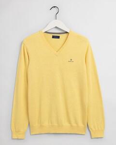 Gant Classic Cotton V-Neck Trui Brimstone Yellow Melange