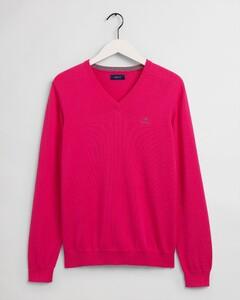 Gant Classic Cotton V-Neck Trui Cabaret Pink