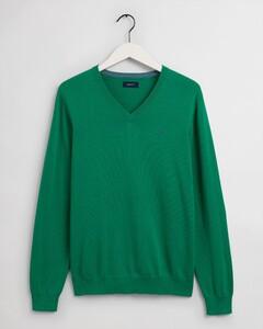 Gant Classic Cotton V-Neck Trui Lush Green