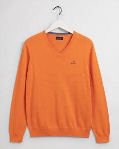 Gant Classic Cotton V-Neck Trui Russet Orange Melange