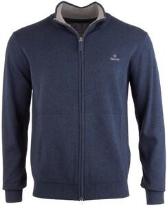 Gant Classic Cotton Zip Cardigan Cardigan Jeans Blue