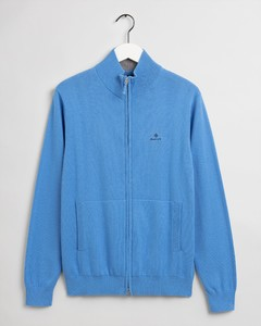 Gant Classic Cotton Zip Cardigan Cardigan Pacific Blue