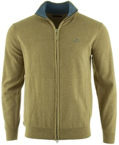 Gant Classic Cotton Zip Cardigan Vest Aloe Green Melange