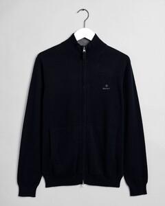 Gant Classic Cotton Zip Cardigan Vest Avond Blauw