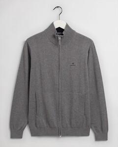 Gant Classic Cotton Zip Cardigan Vest Dark Grey Melange