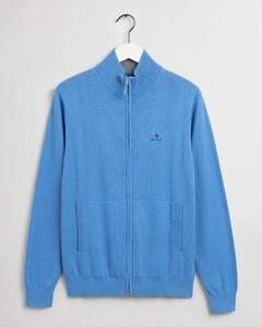 Gant Classic Cotton Zip Cardigan Vest Pacific Blue