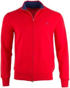 Gant Classic Cotton Zip Cardigan Vest Rood