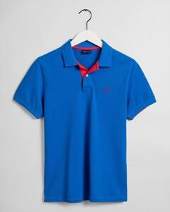 Gant Contrast Collar Piqué Polo Nautical Blue