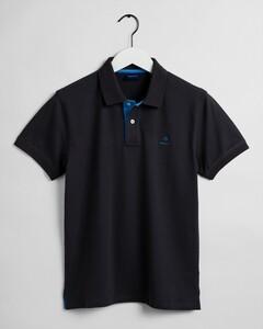 Gant Contrast Collar Pique Poloshirt Dark Graphite