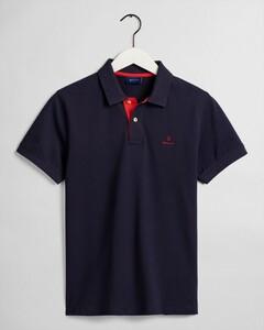 Gant Contrast Collar Pique Poloshirt Evening Blue