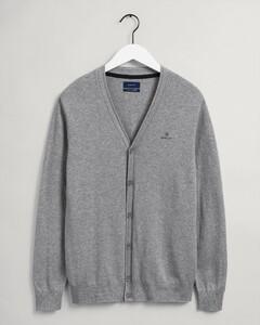 Gant Cotton Cashmere Cardigan Vest Grijs Melange