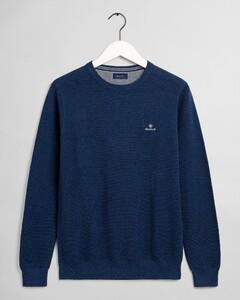 Gant Cotton Piqué Crew Neck Pullover Blue Melange