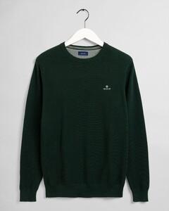 Gant Cotton Piqué Crew Neck Pullover Green