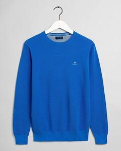 Gant Cotton Piqué Crew Neck Pullover Strong Blue
