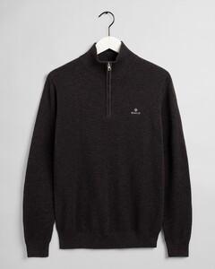 Gant Cotton Piqué Half Zip Pullover Anthracite Melange