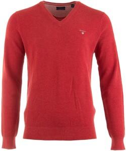 Gant Cotton Piqué V-Neck Pullover Dark Red Melange