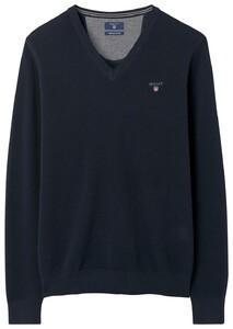 Gant Cotton Piqué V-Neck Pullover Evening Blue