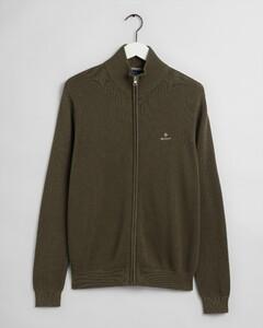 Gant Cotton Pique Zip Cardigan Cardigan Dark Leaf