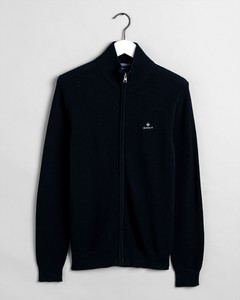 Gant Cotton Pique Zip Cardigan Cardigan Evening Blue