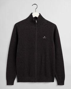 Gant Cotton Piqué Zip Cardigan Vest Antraciet Melange