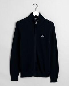 Gant Cotton Piqué Zip Cardigan Vest Avond Blauw