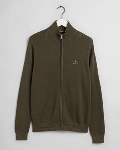 Gant Cotton Piqué Zip Cardigan Vest Dark Leaf