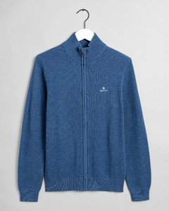 Gant Cotton Piqué Zip Cardigan Vest Denim Blue