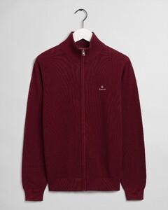 Gant Cotton Piqué Zip Cardigan Vest Port Red