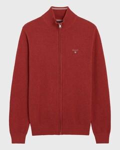 Gant Cotton Pique Zipper Cardigan Cardigan Dark Red Melange