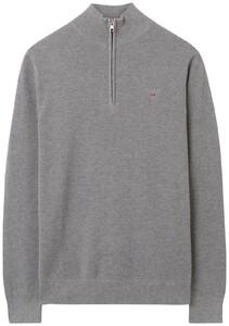 Gant Cotton Piqué Zipper Pullover Grey Melange