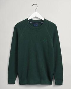 Gant Cotton Rib Texture C-Neck Pullover Green