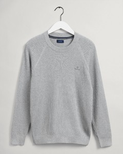 Gant Cotton Rib Texture C-Neck Pullover Light Grey