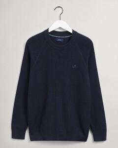 Gant Cotton Rib Texture C-Neck Trui Avond Blauw