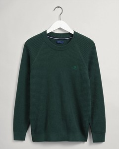 Gant Cotton Rib Texture C-Neck Trui Groen
