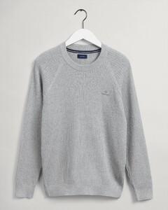 Gant Cotton Rib Texture C-Neck Trui Licht Grijs