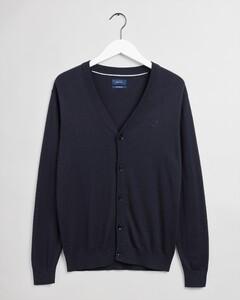 Gant Cotton Silk V Cardigan Vest Avond Blauw