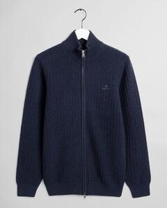 Gant Cotton Texture Fullzip Vest Avond Blauw