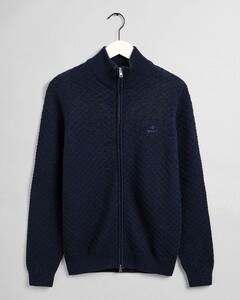 Gant Cotton Texture Fullzip Vest Marine