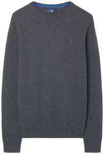 Gant Cotton Texture Trui Antraciet Melange