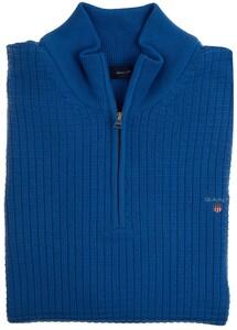 Gant Cotton Textured Halfzip Trui Palace Blue
